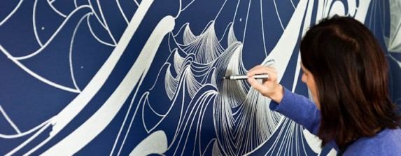 Artist Sandra Cinto at work on her wall drawing at the Seattle Art Museum's Olympic Sculpture Park