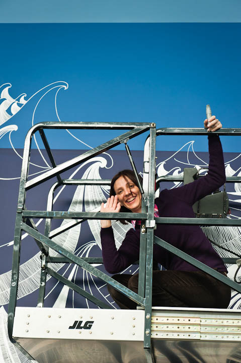 "Artist Sandra Cinto at work on her installation ""Encontro das Águas"" at the Seattle Art Museum's Olympic Sculpture Park"
