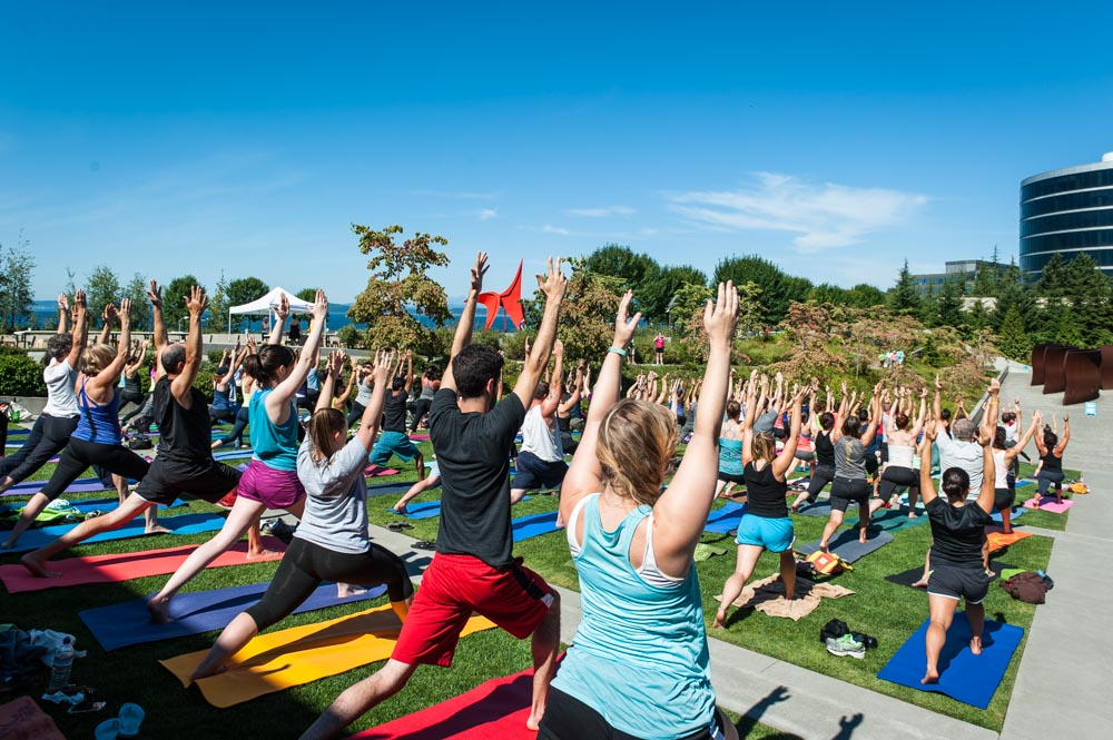 Freee yoga at Olympic Sculpture Park in Seattle