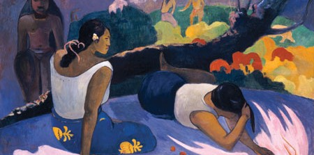 Reclining Tahitian Women (The Amusement of the Evil Spirit) Arearea no varua ino, 1894, Paul Gauguin, French, 1848-1903, oil on canvas, 23 5/8 x 38 9/16 in., Ny Carlsberg Glyptotek, Copenhagen, Photo: Ole Haupt