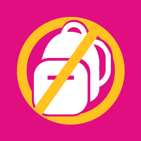 Icon depicting a backpack crossed out