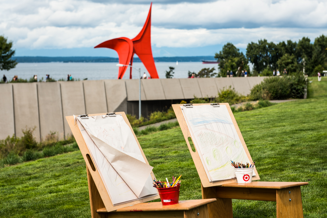 Easels set up for art marking during Summer at SAM at Olympic Sculpture Park