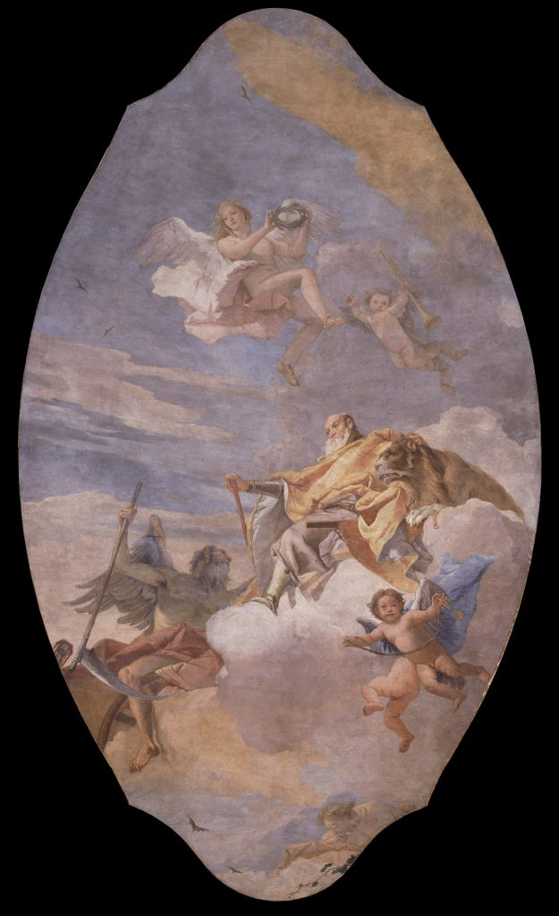 A full view of The Triumph of Valor over Time by Giovanni Battista Tiepolo