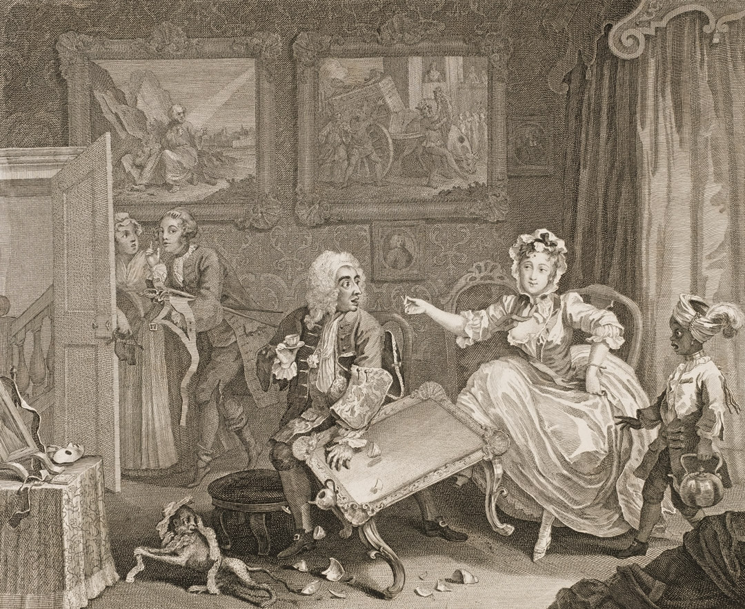 """The Harlot Finds a Protector"""" by William Hogarth, 1732"""