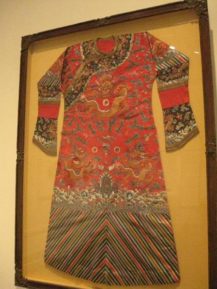 Chinese, woman's robe from 1875-1908 at Seattle Asian Art Museum.
