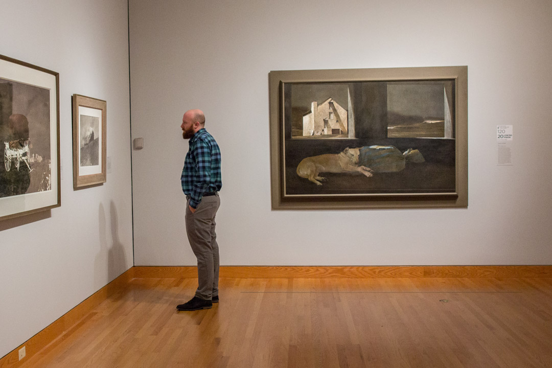 Installation view of Andrew Wyeth: In Retrospect at Seattle Art Museum